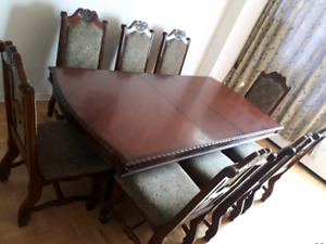 Wooden Brown Dinning Table Set With Eight Chairs