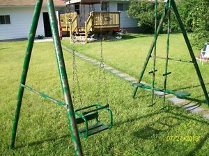 Older style swing set, refurbished