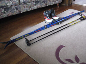 Mens Cross Country Skis, boots and Poles.
