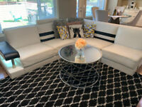 White with Black Contemporary Sectional