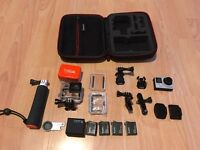 GoPro Hero 4 Silver - 4 Batteries & Extras including case
