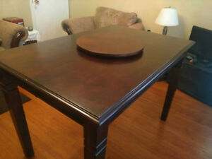 Dark solid wood bistro table + chairs