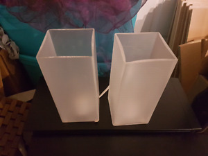 2 x Square frosted glass table lamps