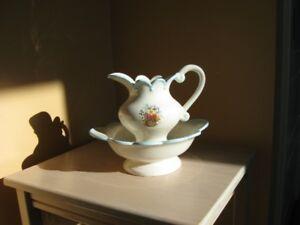 Ceramic Water Pitcher & Bowl