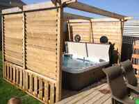 Louvered privacy hot tub surround