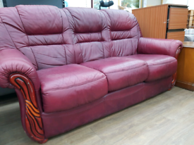 Leather 3 seater sofa with electric recliner armchair