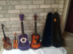 GUITARS, VIOLINS Or Fiddle +  CASE * Could be used for Display*