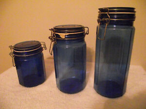 Cobalt Blue Glass Cannister Set