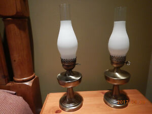Pair Electric Hurricane Table Lamps: Brass Bases, Frosted Glass