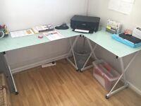 Glass top corner desk