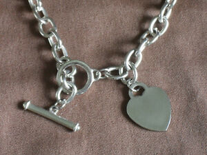 "HEART CHARM on 16"" Silver Chain Link Bracelet With Toggle Clasp"