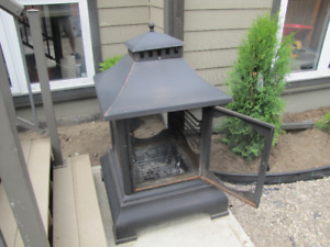 Steel, Dark Copper, Free-Standing Fire-Pit For Sale.