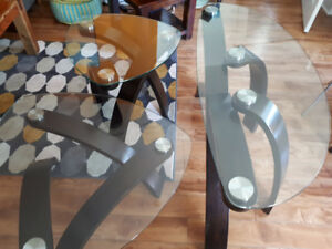 Like new three glass tables with wood set