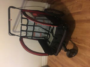 Double stroller with bike attachment
