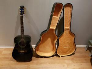 Blue Fender Acoustic Guitar + Case