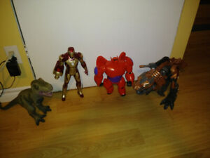 Kids' toys -stomp and chomp grimlock, T rex, iron man and baymax