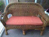 Conservatory two seater wicker sofa