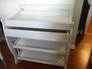 White Baby Changer with Shelves and Drawer