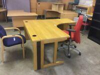 Right hand oak office desk.