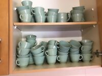 Green Beryl cups and saucers vintage ware