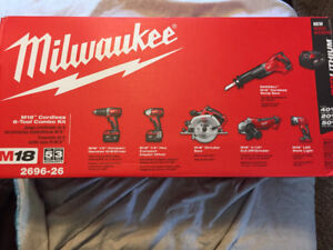 New in the box 6pc M18 Milwaukee tool set