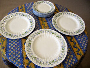 3 Dinner Plates & 7 Luncheon Plates by Shelley  Harebell Pattern