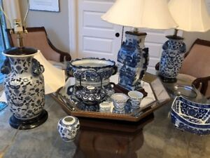 BOMBAY COMPANY various blue and white dishes lamps etc