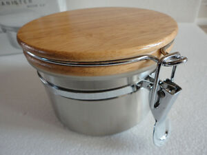 Brand new in box stainless steel canister with wooden lid London Ontario image 8