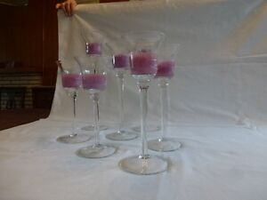 SET OF 7 CANDLE HOLDERS WITH CANDLES