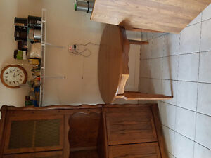 Vintage Solid Wood Dining Table with Corner Cabinet