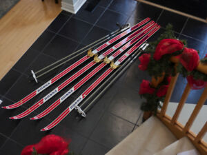 vintage BONNA Cross Country Skis/Poles - 2 Pairs