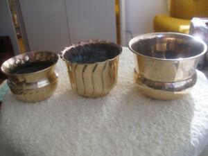 THREE OLD VINTAGE INDIAN-BRASS WINDOW-LEDGE FLOWER POTS