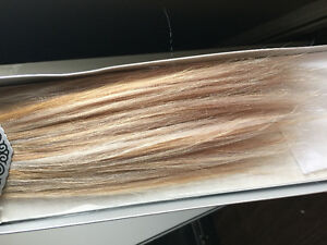 "18""Blonde/silver brand new in package clip in hair extensions"