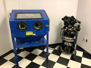 Abrasive blasting cabinet with Compressor