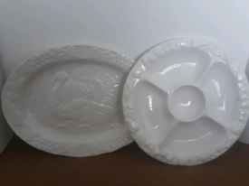 Turkey Meat Platter Dish & Condiment Plate