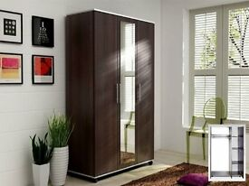 BRAND NEW FLAT PACK 3 DOOR WARDROBE WITH SHELF AND MIRRIOR IN DIFFERENT COLOURS