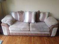 Three seater fabric sofa with duck egg/white/stone scatter cushions