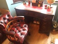Antique Style Leather Desk & Chesterfield Captains Chair