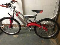 Red & silver mountain bike