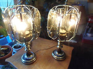 2 HEAVY Solid Brass and Marble Dark Glass Table Lamps