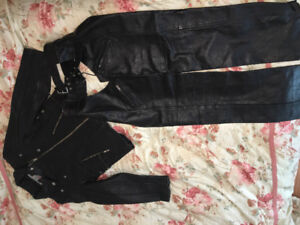 Women's Black leather jacket and chaps