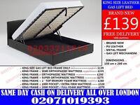 King leather storage Bed Black/Dark Brown...go get it...