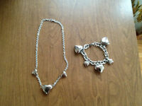 Stainless Steel Large Heart Necklace & matching bracelet