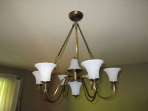 Chandelier - brass finish. White Glass Shades are removable. Ver
