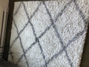 Large shag area rug from Wayfair with thick grip pad!
