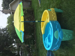 Step 2 Sail Away Adventure Sand and Water table with umbrella.