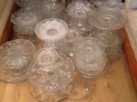 Vintage glass cake stands various sizes.