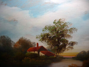 """Vintage Oil Painting, """"Early Morning River"""" 1920's Stratford Kitchener Area image 2"""