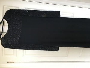 Beautiful long beaded black evening gown size 12-14