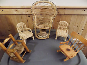 Wicker and wooden doll furniture